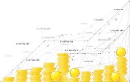 Monedas en extracto aislado fondo blanco del objeto Imagenes de archivo