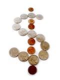 Monedas en la forma de muestra de dólar Fotografía de archivo