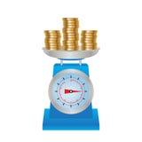 Monedas en las escalas Foto de archivo libre de regalías