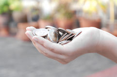 Monedas en las manos que ahorran, casa del mercado del dividendo de la caridad de la ayuda financiera del fondo de inversión de l Fotos de archivo
