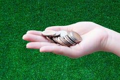 Monedas en manos en hierba Imagen de archivo libre de regalías