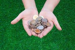 Monedas en manos en hierba Fotografía de archivo libre de regalías