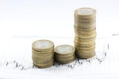 Monedas en una carta del rédito, fotografía de archivo libre de regalías