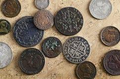 Monedas españolas viejas foto de archivo libre de regalías