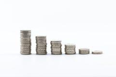 2 monedas euro apiladas Imagenes de archivo