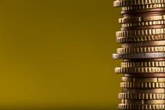 Monedas euro apiladas en uno a Foto de archivo