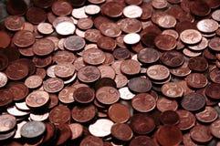 Monedas euro chipriotas - centavos 5, 2 y 1. Imágenes de archivo libres de regalías