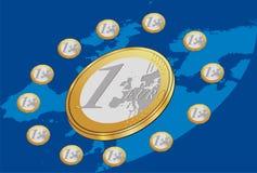 Monedas euro colocadas en círculo con el fondo azul Fotos de archivo libres de regalías