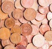 Monedas euro de diversa denominación lanzadas por Letonia imagen de archivo libre de regalías