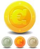 Monedas euro de la historieta fijadas ilustración del vector