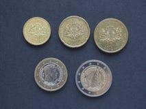 Monedas euro de Letonia Foto de archivo libre de regalías