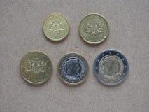 Monedas euro de Letonia Foto de archivo