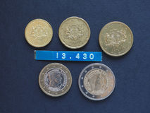 Monedas euro de Lituania Fotografía de archivo