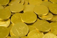 Monedas euro de oro del chocolate foto de archivo libre de regalías