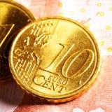 Monedas euro del centavo Imagen de archivo libre de regalías