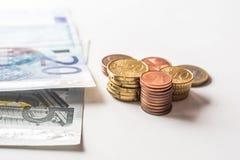 Monedas euro del dinero Fotografía de archivo libre de regalías