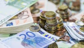Monedas euro empiladas Imagen de archivo libre de regalías