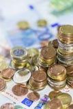 Monedas euro empiladas Foto de archivo libre de regalías