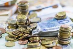 Monedas euro empiladas Imágenes de archivo libres de regalías
