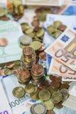 Monedas euro empiladas Imagen de archivo