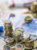 Monedas euro empiladas Fotografía de archivo libre de regalías