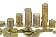 Monedas euro empiladas Imagenes de archivo