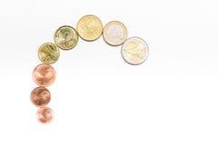 Monedas euro en blanco Foto de archivo libre de regalías