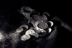 Monedas euro en la bolsa Foto de archivo