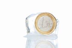Monedas euro en un bloque del hielo. Inflación. Fotos de archivo libres de regalías
