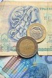 Monedas euro griegas Foto de archivo libre de regalías