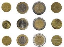 Monedas euro a partir de tres naciones Imágenes de archivo libres de regalías