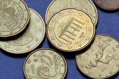 Monedas euro Puerta de Brandenburgo Imágenes de archivo libres de regalías