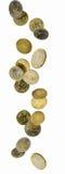 Monedas euro que caen Imagen de archivo libre de regalías