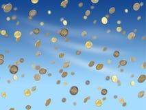 Monedas euro que caen Fotografía de archivo libre de regalías