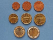 Monedas euro, unión europea, alemana Imágenes de archivo libres de regalías
