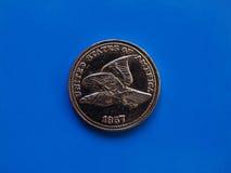 Monedas euro, unión europea sobre azul con el espacio de la copia Fotos de archivo libres de regalías