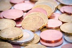 Monedas europeas Fotografía de archivo libre de regalías