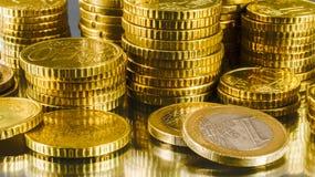 Monedas europeas del dinero Fotografía de archivo