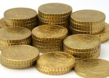 Monedas europeas del dinero en circulación Foto de archivo libre de regalías