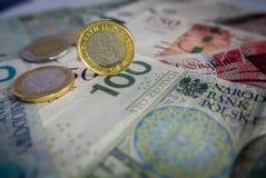 Monedas europeas fondo, euro, libra británica, zloty polaco fotos de archivo