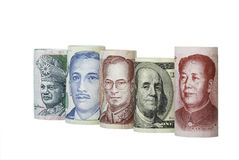 Monedas extranjeras Foto de archivo