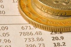 Monedas financieras Imagen de archivo libre de regalías