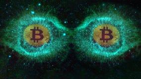 Monedas grandes de los ojos del bitcoin en espacio foto de archivo libre de regalías