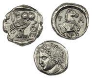 Monedas griegas foto de archivo libre de regalías