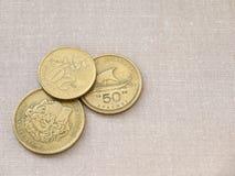 Monedas griegas del dracma Fotos de archivo libres de regalías