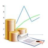 Monedas, horario y seguridades financieros stock de ilustración