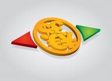 Monedas importantes, concepto financiero Imagen de archivo libre de regalías