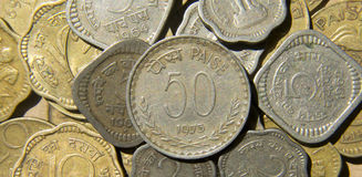 Monedas indias Fotografía de archivo