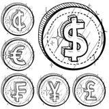 Monedas internacionales del símbolo de dinero en circulación Imagen de archivo