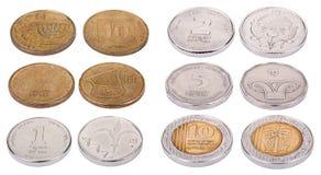 Monedas israelíes - alto ángulo Fotografía de archivo